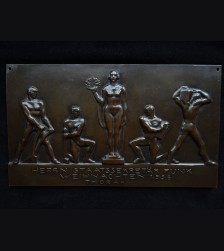 Walther Funk Presentation Cast Bronze Plaque- Josef Thorak # 3292