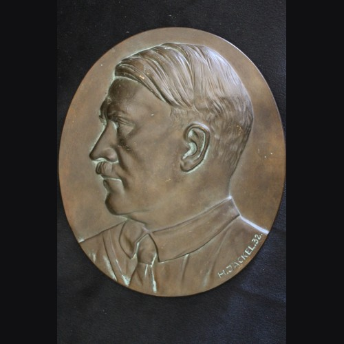 Early Adolf Hitler Bronze Propaganda Plaque ( H. Jackel ) # 3294