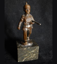 Bronze German Boy Soldier with Pickelhaube