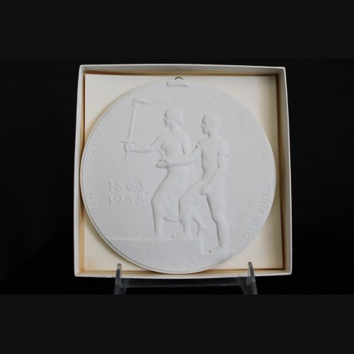 Boxed I.G Farben 75 Year Anniversary Plaque- KPM ( Prof. Scheibe )