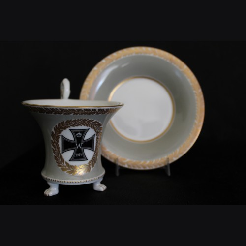 KPM Claw Foot Cup and Saucer- Iron Cross # 3332