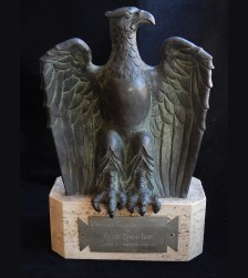 Fascist Italian 1942 Bronze Eagle Trophy Presented to Zurich Roller Club for Hockey Match # 3367