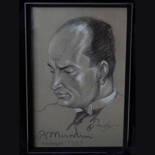 Original Benito Mussolini Charcoal Sketch- Cesare Annibale Musacchio # 3395