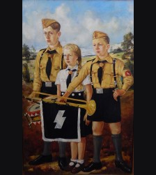 Hitler Youth Oil Painting- Unsigned  # 3405