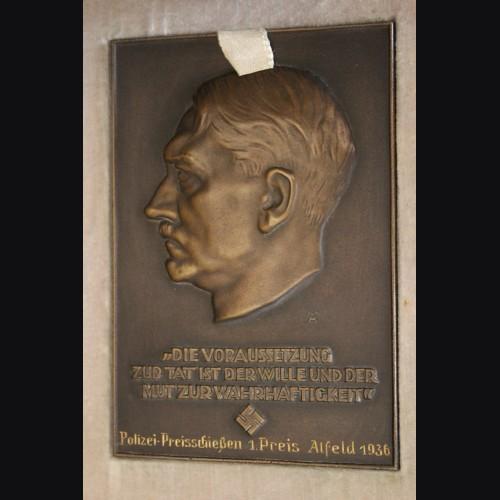 Bronze Presentation Adolf Hitler Plaque-Boxed (Polizei) # 3473