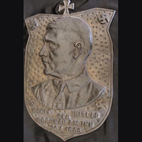 Adolf Hitler Bronze Birth Plaque- Reproduction # 3487
