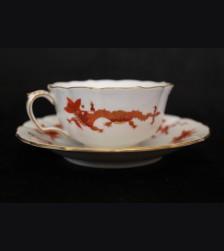 Meissen Red Dragon Cup and Saucer- Adolf Hitler (Berchtesgaden) # 3500