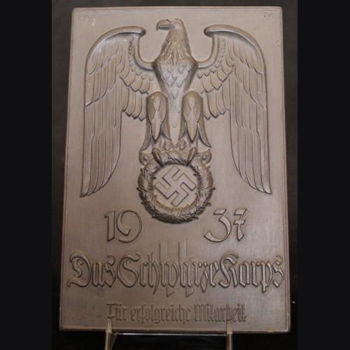 Allach Porcelain- 1937 Das Schwarze Korps Plaque- (T. Karner- Karl Diebitsch) # 3503