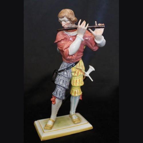 Allach Porcelain- #155 Landsknecht Flötenspieler- Painted # 3505