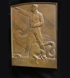 Early 1933 Bronze Adolf Hitler Propaganda Plaque- (Franz Waldmuller) # 3286