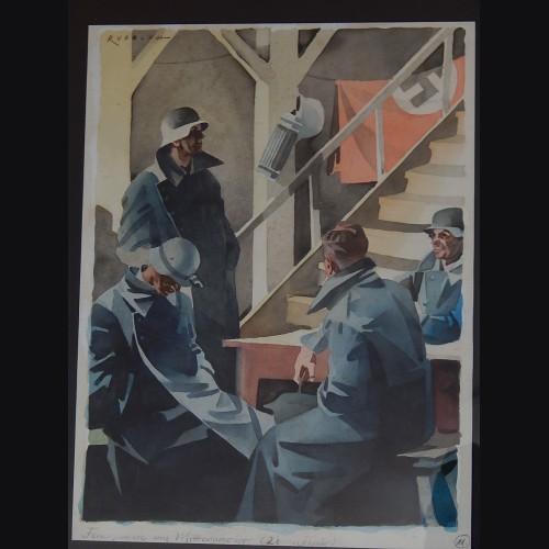 Luftwaffe Flak Crew Watercolor- Feurpause um Mitternacht # 3273