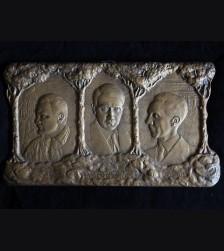 Early Bronze Propaganda Plaque- Hitler, Goering, Goebbels ( R. Kopp ) # 3055