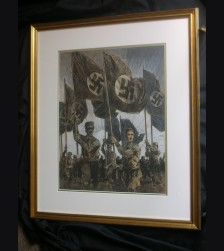 Original Albert Reich Artwork- Marching SA/SS Fahnentrager # 3001
