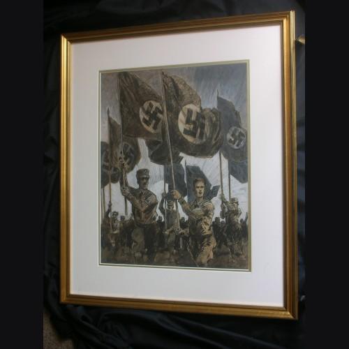 Original Albert Reich Artwork- Marching SA/SS Fahnentrager