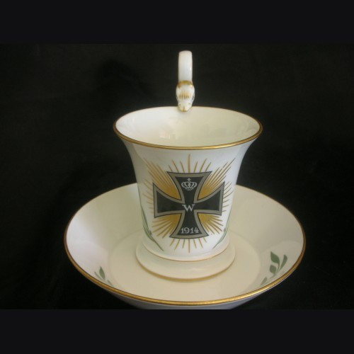 Iron Cross Patriotic Cup and Saucer- Meissen # 3124