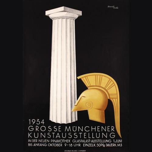 Original 1934 Munich Art Exhibition Poster- Heinrich Eschle