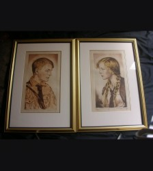 Hitler Youth & BDM Girl Period Etchings- Max Brunning