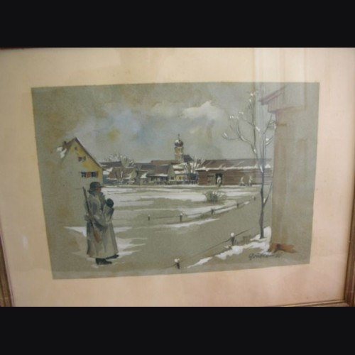Framed Russian Front Painting 1941 ( Ludwig Gruber ) # 1051