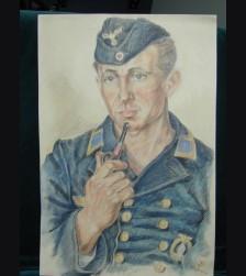 Kriegsmarine Colored Sketch ( Maat Weber )  # 1393