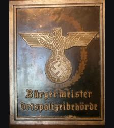 Deutsches Polizei Bulding Sign-Burgermeister Ortspolizeibehorde # 1930