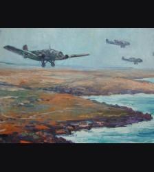 Large Format Oil Painting-Küste bei Tobruk (Karl Dörrfuss)  # 1946