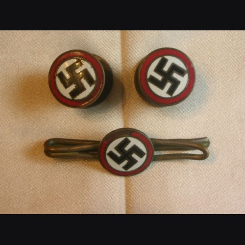 N.S.D.A.P Three Piece Sympathizer Popper Cufflinks and Tie Bar # 2059